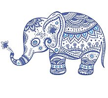 Cute Navy Blue Retro Floral Elephant Photographic Print