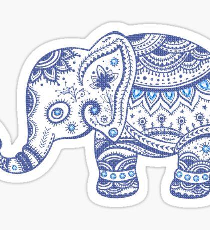 Cute Navy Blue Retro Floral Elephant Sticker