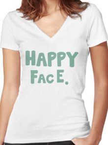 Happy Face. Women's Fitted V-Neck T-Shirt