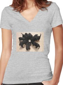 Nine Rottweiler Puppies Eating From One Food Bowl Women's Fitted V-Neck T-Shirt