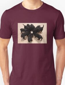 Nine Rottweiler Puppies Eating From One Food Bowl Unisex T-Shirt