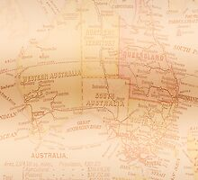 Vintage Map of Australia Copper by Melissa Park