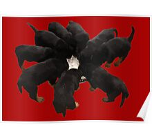 Nine Rottweiler Puppies Eating Vector Poster