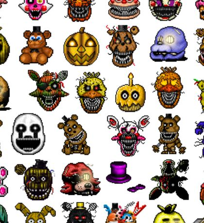 Multiple characters (New set) - Five Nights at Freddy's - Pixel art  Sticker