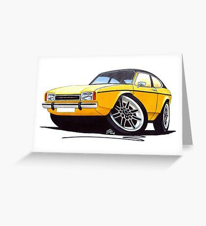 Ford Capri (Mk2) Yellow Greeting Card