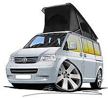 Volkswagen T5 California Camper Van Silver Photographic Print