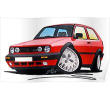 VW Golf GTi (Mk2) Red Poster