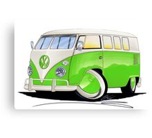 VW Splitty (11 Window) Lime Green Canvas Print
