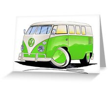 VW Splitty (11 Window) Lime Green Greeting Card
