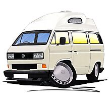 VW T25 / T3 [SQ] (High Top) White Photographic Print