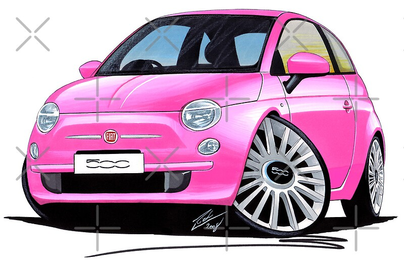 new fiat 500 pink greeting cards by richard yeomans redbubble. Black Bedroom Furniture Sets. Home Design Ideas