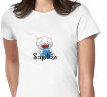Sophia cute little white kitten girls shirt Womens Fitted T-Shirt