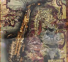 Steampunk Fashion Saxaphone Vintage Map Design by Melissa Park