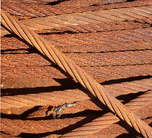 Rusty cables on a drum in Provincetown harbor by stuwdamdorp