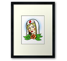 Nurse tattoo flash Framed Print