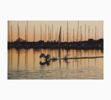The Golden Takeoff - Swan, Sunset and Yachts at the Marina  One Piece - Long Sleeve