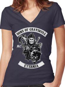 SONS OF GRAYSKULL!! (BLACK) Women's Fitted V-Neck T-Shirt