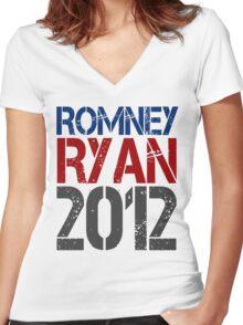 Romney Ryan 2012, Bold Grunge Design Women's Fitted V-Neck T-Shirt