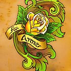 'For Anne', decorative rose tattoo flash by Sara Adrian