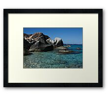 Sunny Caribbean Beach - The Baths on Virgin Gorda, British Virgin Islands, BVI Framed Print