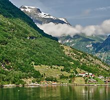 At the Foot of the Mist-Wreathed Peaks, Geiranger, Norway by Gerda Grice