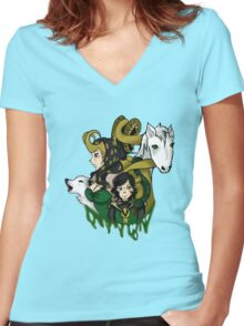 Loki Cubed Women's Fitted V-Neck T-Shirt