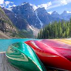 Kayaks on Moraine Lake by Andrey Popov