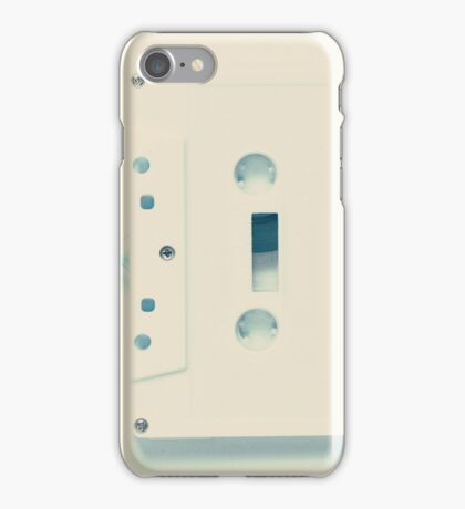 Music retro white cassette and blue tape heart shaped iPhone Case/Skin