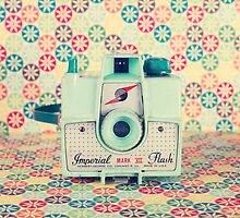 Film Mint Camera on a Colourful Retro Background  by Andreka