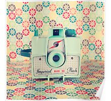 Film Mint Camera on a Colourful Retro Background  Poster