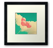 Happy Pink Balloons on retro blue sky  Framed Print