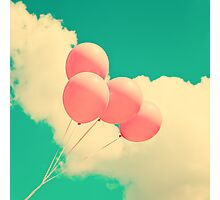 Happy Pink Balloons on retro blue sky  Photographic Print
