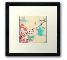 Pink fall leafs on retro vintage sky  Framed Print