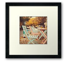 Dream Autumn (Pink and blue coffee shop chairs on retro and vintage fall) Framed Print