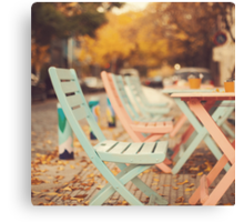 Dream Autumn (Pink and blue coffee shop chairs on retro and vintage fall) Canvas Print