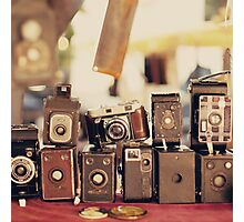 Old Cameras (Vintage and Retro Film Cameras Collection) Photographic Print