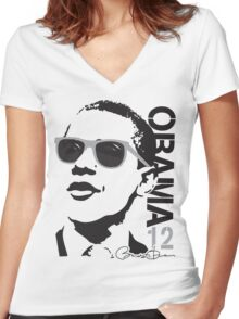 Obama 12 Shirt Shades Women's Fitted V-Neck T-Shirt