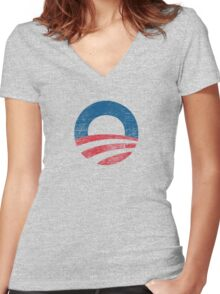 Retro Obama Logo Shirt Women's Fitted V-Neck T-Shirt