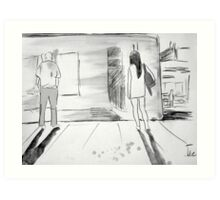 figures at a station Art Print