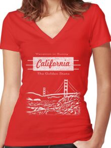 California Vacation Women's Fitted V-Neck T-Shirt
