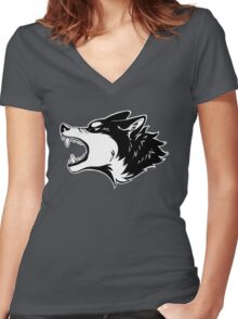 Angry Wolf Tee (White) Women's Fitted V-Neck T-Shirt