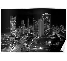 Surfers Paradise at Night B&W Poster
