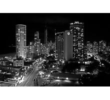 Surfers Paradise at Night B&W Photographic Print