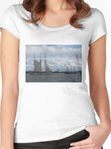 Tall Ships Sailing in the Harbor Women's Fitted Scoop T-Shirt
