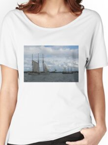 Tall Ships Sailing in the Harbor Women's Relaxed Fit T-Shirt