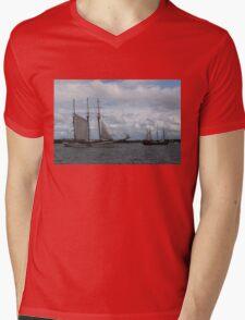 Tall Ships Sailing in the Harbor Mens V-Neck T-Shirt