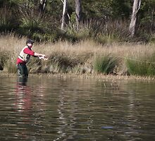 fly fishing at Four Springs Lake by gaylene