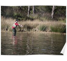fly fishing at Four Springs Lake Poster
