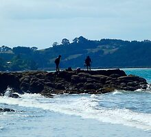 Fishing on the rocks at Sullivans Bay by amypie71