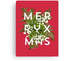 Floral Merry Xmas Typography Canvas Print